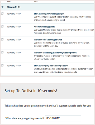 Wedding to do list online tool bride a preview of site functionality junglespirit Gallery