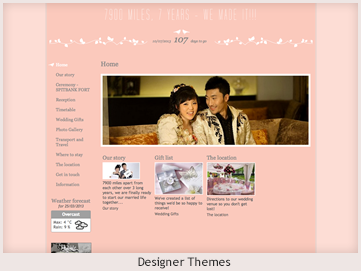 A personal website preview showing designer themes
