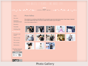 A personal website preview showing a photo gallery