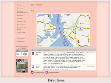 A personal website preview showing directions