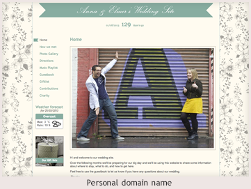 A personal website preview showing personal domain name