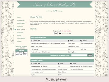 A personal website preview showing a music player