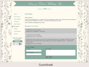 A personal website preview showing a guestbook
