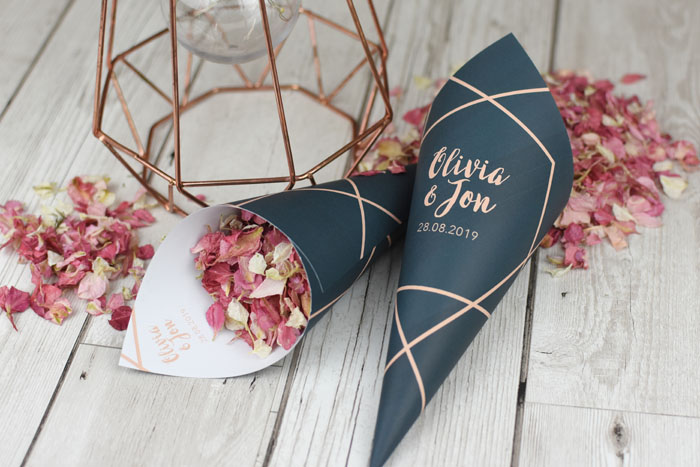 now available  confetti cones to match your wedding theme